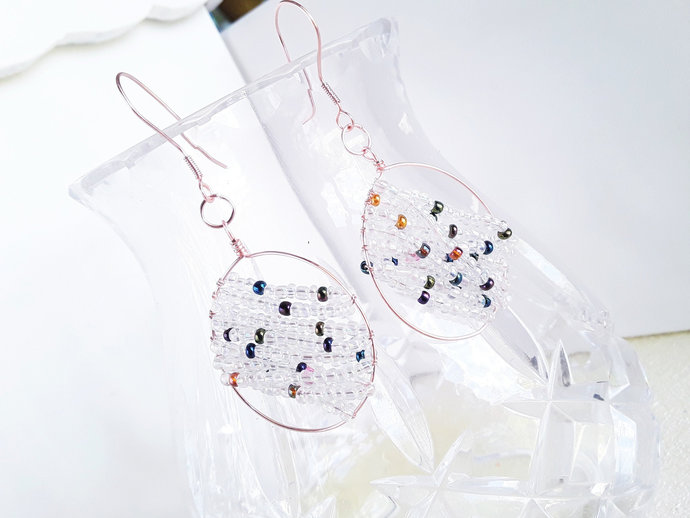 Rose Gold Long Circle Seed Bead Dangle Earrings Multicolor Beads Rose Gold