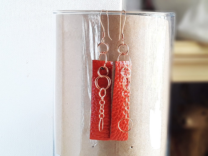 Burnt Orange Long Leather Dangle Earrings,Orange Leather and Cooper Wire