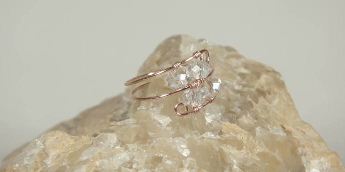 Petite Rose Gold Ring, Thumb Rings, Midi Rings, Dainty Wire Wrapped Ring, Boho