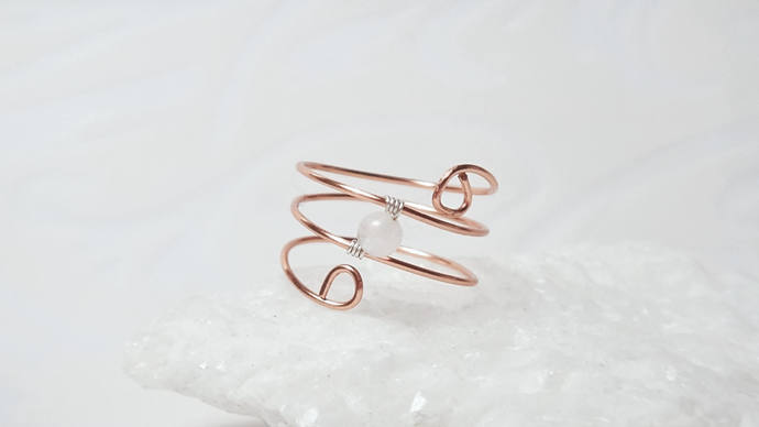 Petite copper ring, Thumb Rings, Midi Rings, Dainty wire wrapped ring, Boho