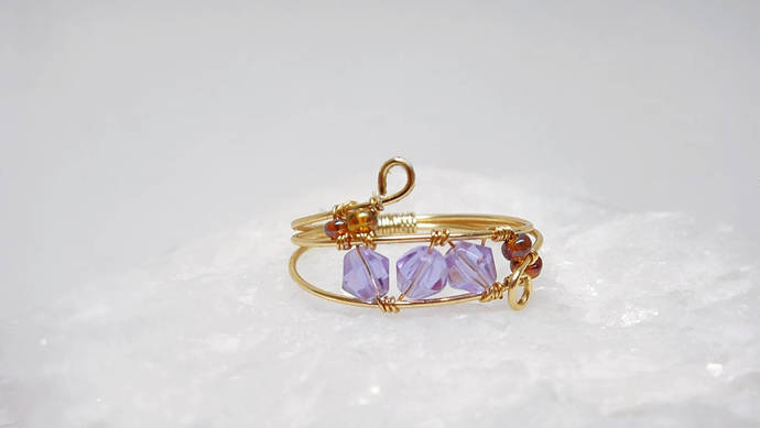 Delicate Gold Wire Wrapped Rings, Amethyst Color Crystals, Sizes 3-13, Gold,