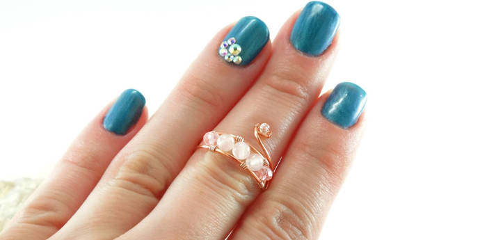 Delicate midi rings for women, copper wire wrapped rings with rose quartz,