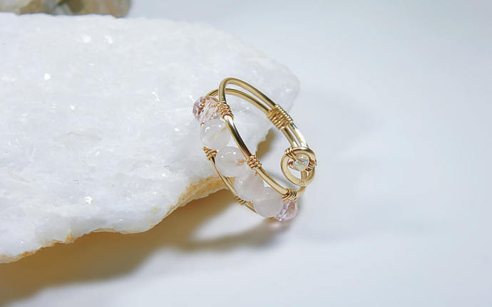 Rose Quartz Rings for Women, Delicate Gold Band Rings, Stackable Gold Rings,