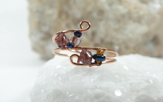 Delicate Copper Rings, Stackable Wire Wrapped Rings with crystals, Boho Midi