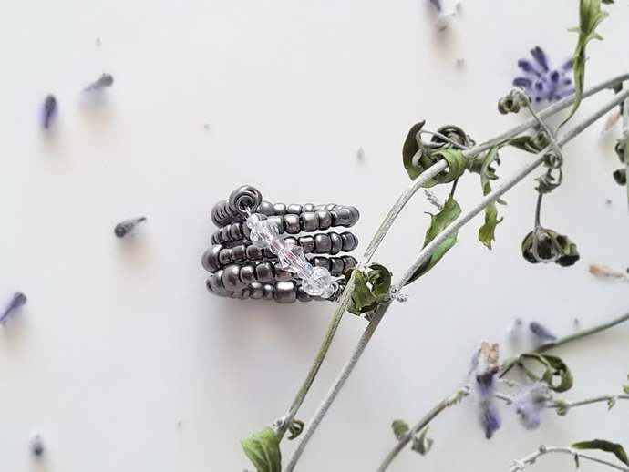 Midi Knuckle Ring,Beaded Infinity Ring,White and Pink Crystals,Handmade