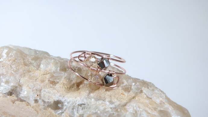 Minimal Rose Gold Midi Ring,Stackable Ring,Wire Wrapped Ring,Boho Midi