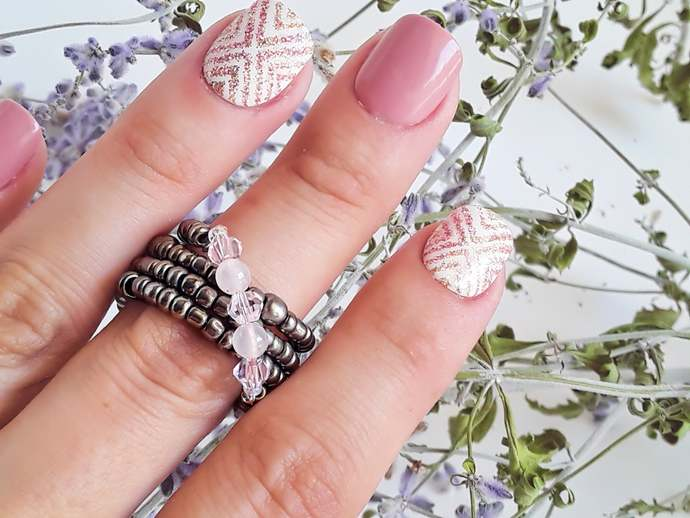 Rose Quartz Beaded Ring,Gunmetal Wire Wrapped Ring,Light Pink Crystal