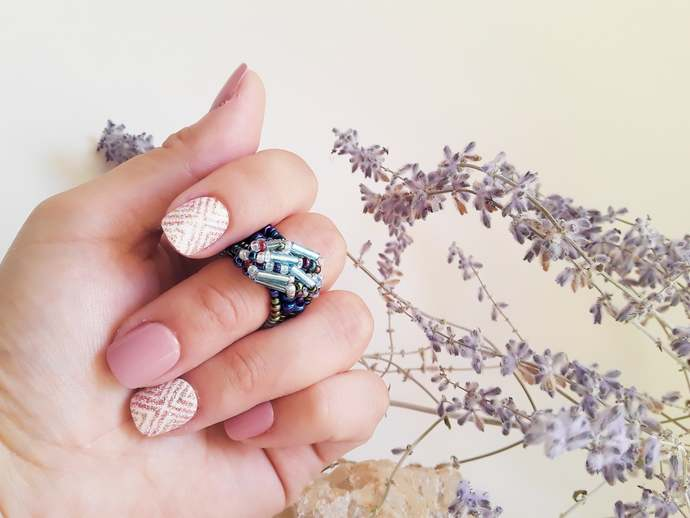 Seed Bead Ring-Everyday Statement Ring-Boho Midi Ring-Blue Bead Ring-Cocktail