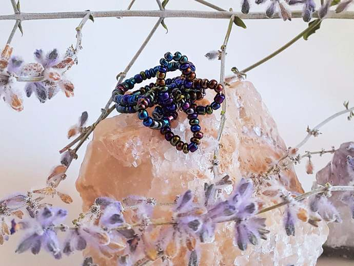 Beaded Ring-Flower Statement Ring-Bohemian Gypsy Ring-Flower Boho Ring-Seed Bead