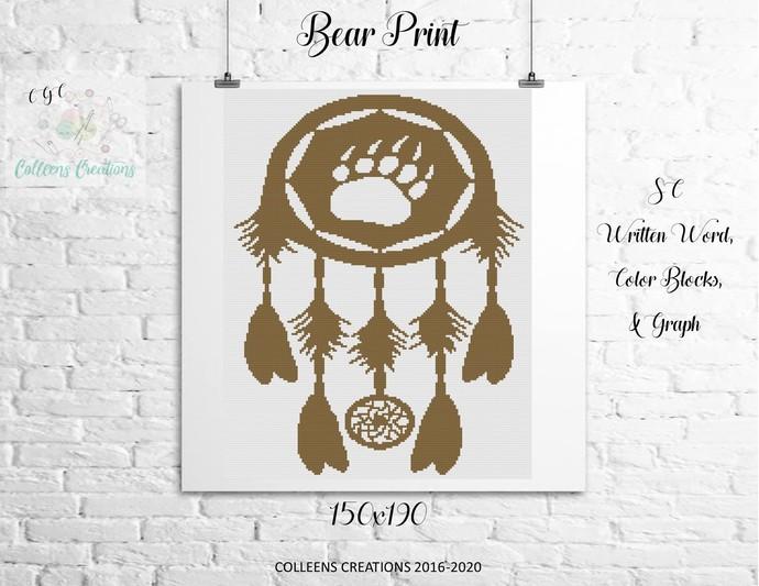 Bear Print Crochet Written Word & Graph Design