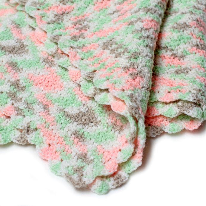 Crochet Baby Blanket, Peach and Green