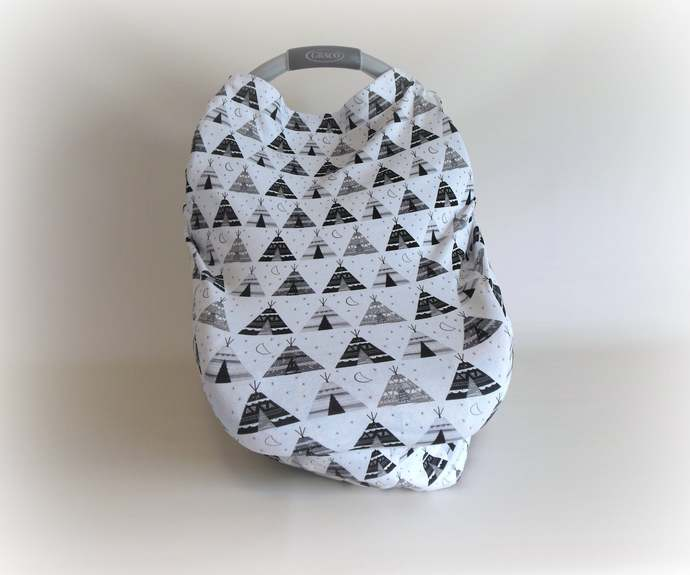 4 in 1 Teepee Nursing Cover, Teepee Stretchy Baby Car Seat Canopy, Teepee Baby