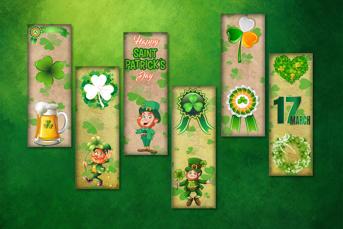 St.Patrick's Day Digital Bookmarks,St Patrick Bookmarks,Shamrock Digital