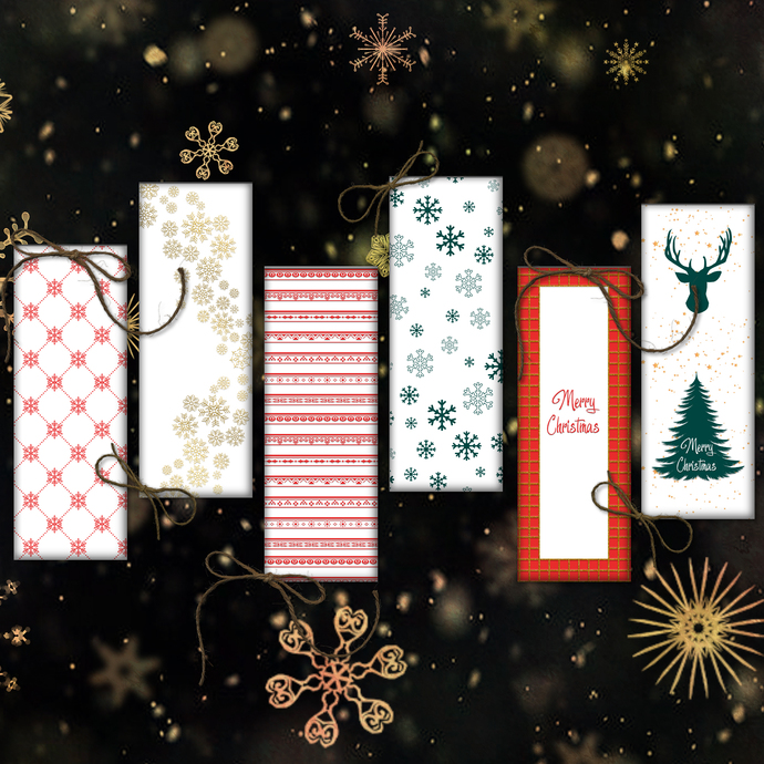 Happy New Year Printable, Merry Christmas Papers, Digital Bookmarks, Bookmarks