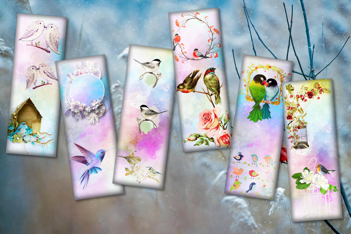 Birds Bookmarks, Flower, Downloadable bookmark, Digital Bookmarks, Bookmark