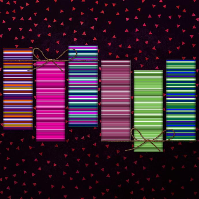 Stripes Digital Bookmarks, Stripes Printable, Color Stripes, Bookmarks Striped,