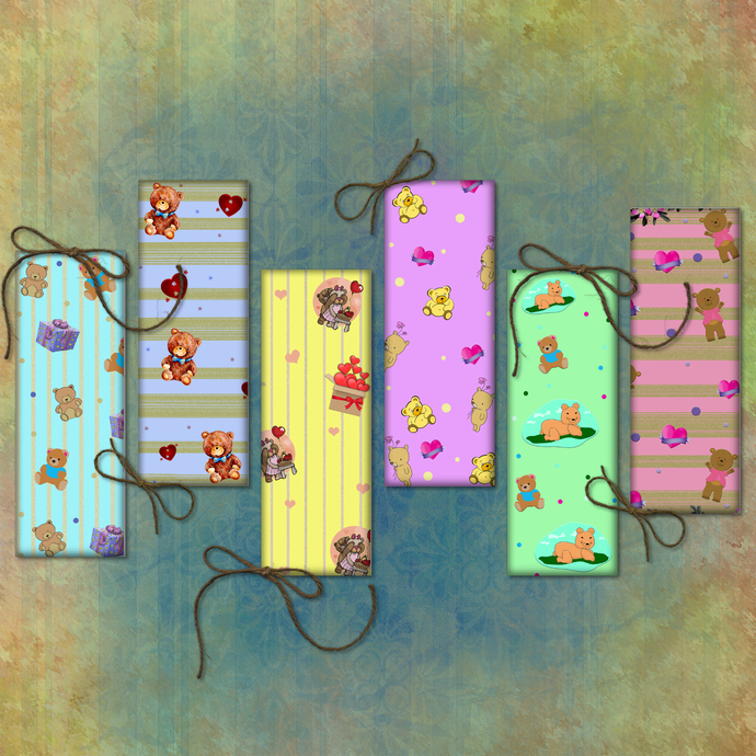 Teddy Bear Bookmarks, Bookmarks Digital, Baby Shower, Baby Papers, Baby Digital