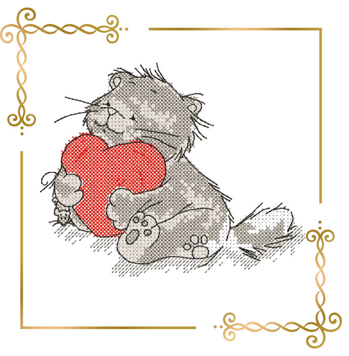 cat with heart valentine's day  embroidery design