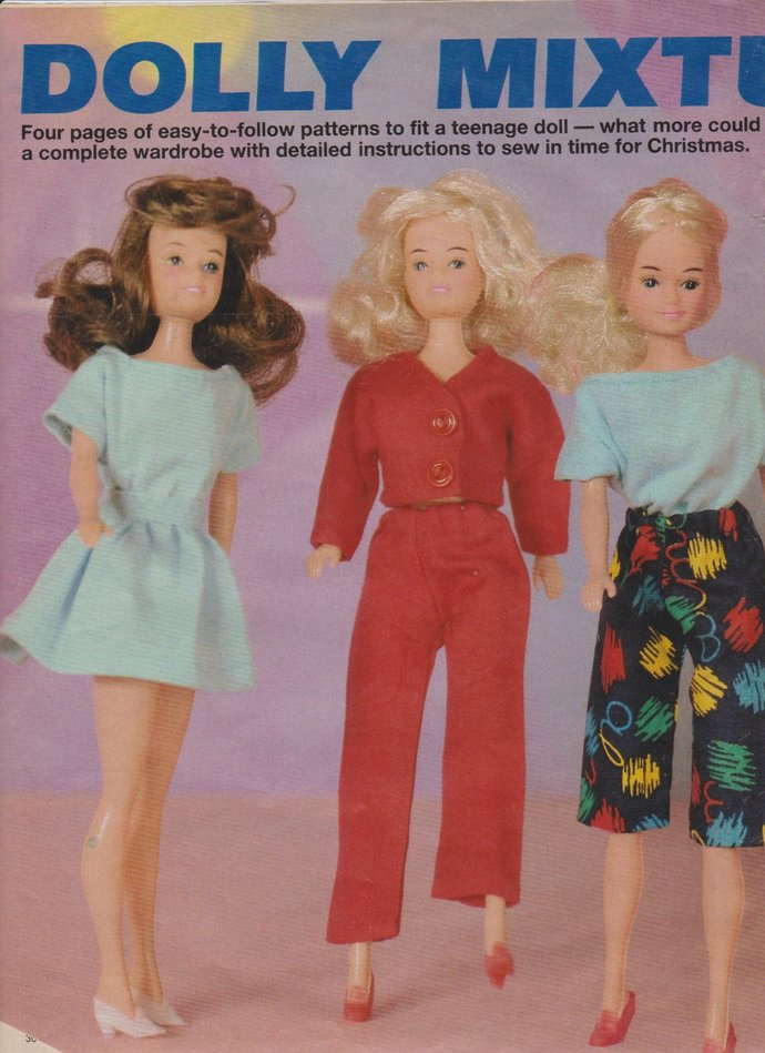Instant PDF Digital Download Vintage Dolls Clothes Sewing Pattern to make 6