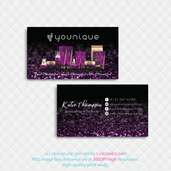 Personalized Younique Business Cards, Younique Printable Cards, Custom Business