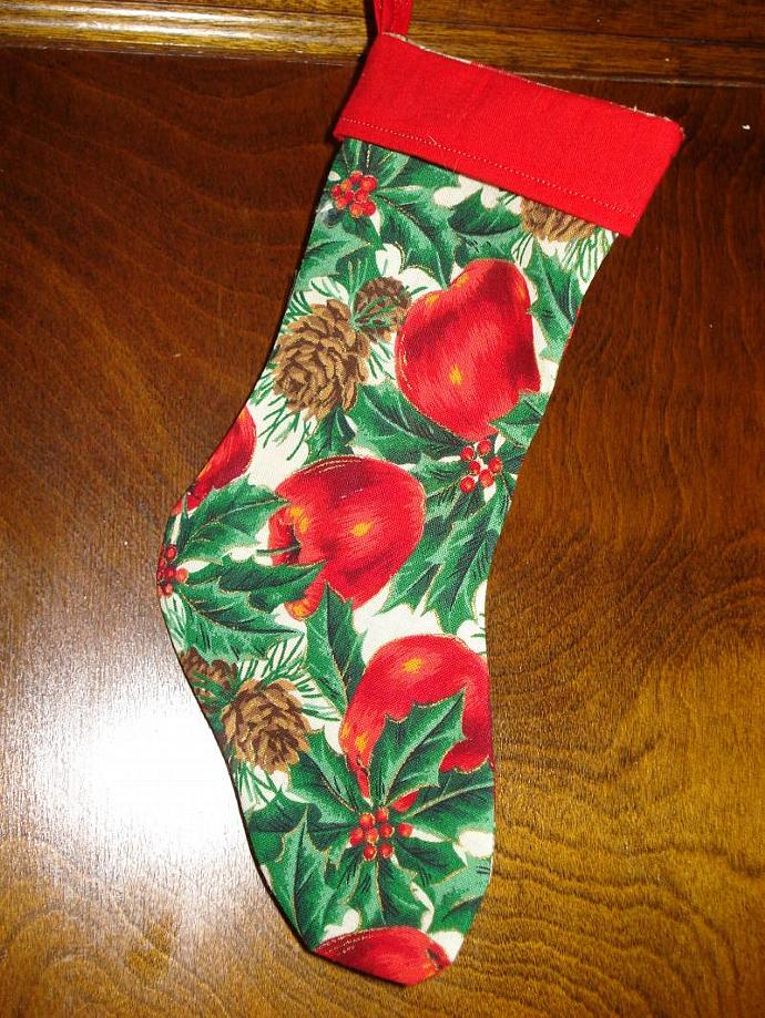 Christmas Stocking, small - Apples, Holly & Pine Cones