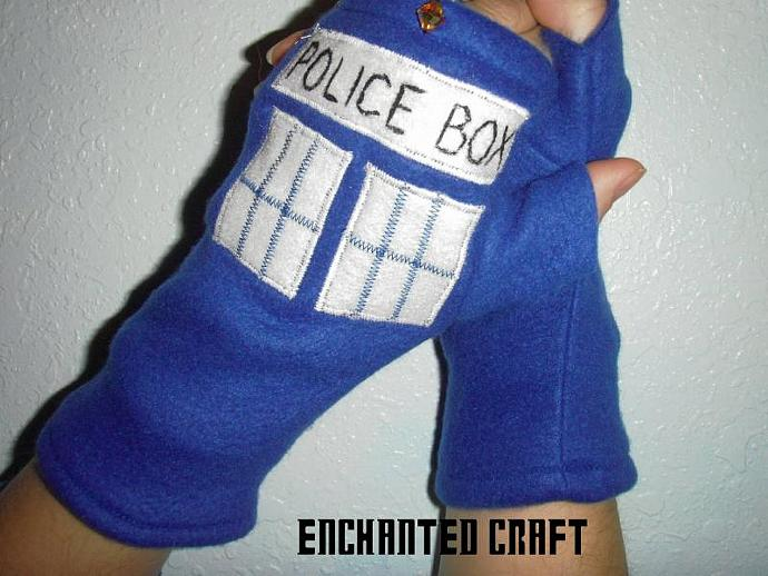Warm blue fleece Dr Who tarDIS fingerless gloves