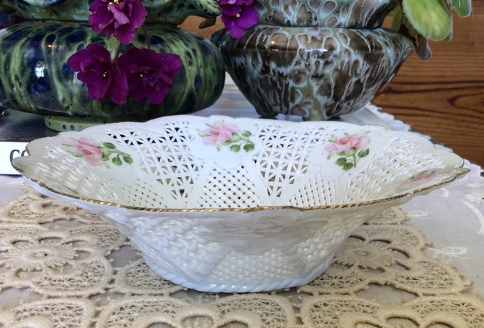 Hand Braided Porcelain Bowl with Pink Roses