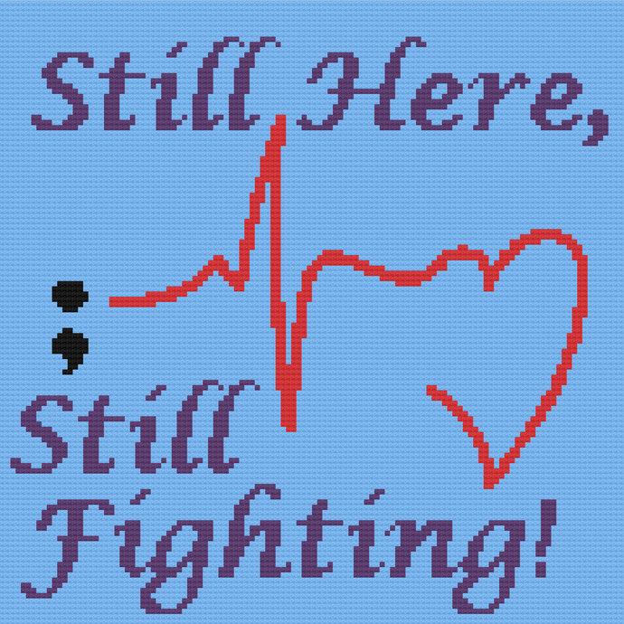 Suicide Prevention Awareness Semicolon C2C Crochet Pattern PDF Graph Written
