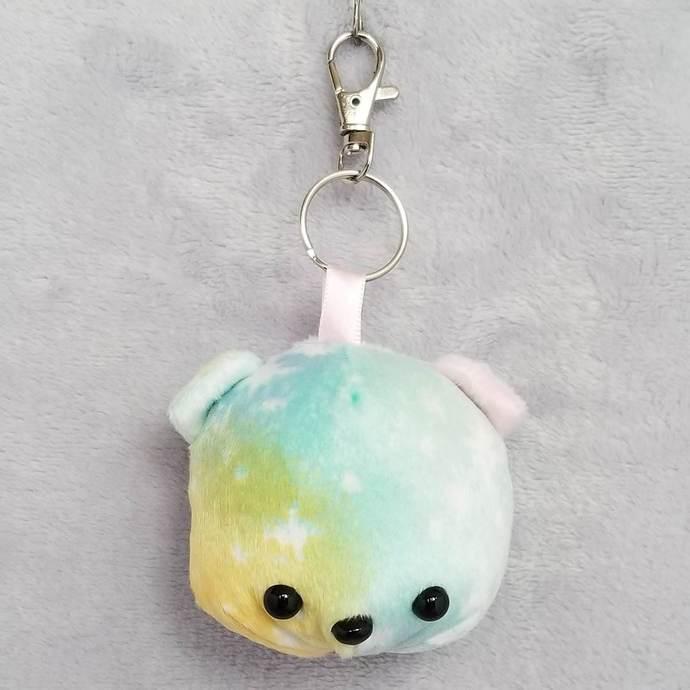 CHUBBY BEAR HEAD KEY-CHAIN: Pastel Galaxy