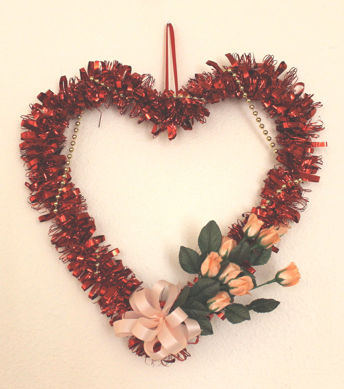 Heart Mylar Wreath with Peach Roses and Gold Beads Wedding Valentine's Day