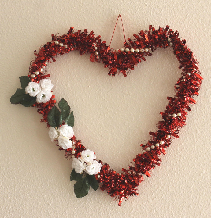 Red Mylar Heart Wreath with White Roses and Pearls Wedding Valentine's Day