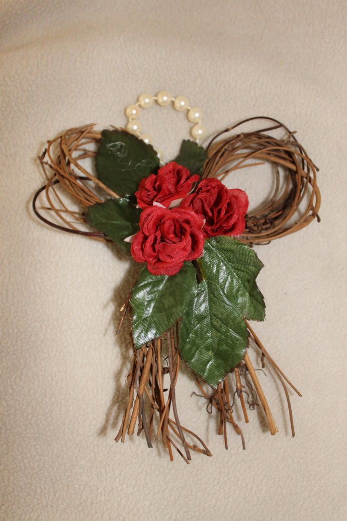 Tiny Vine Bow Wreath wall hanging With Roses Wedding Valentine's Day Mother's