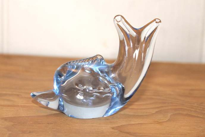 Light Blue Hand-Blown Dolphin Solid Glass Sculpture statue figurine paperweight