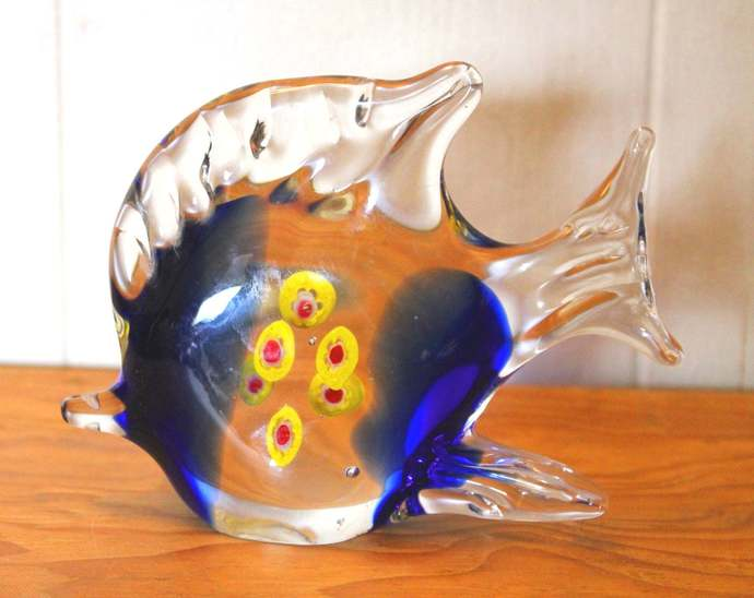 Blue Hand-Blown Angel Fish Solid Glass Sculpture statue figurine paperweight