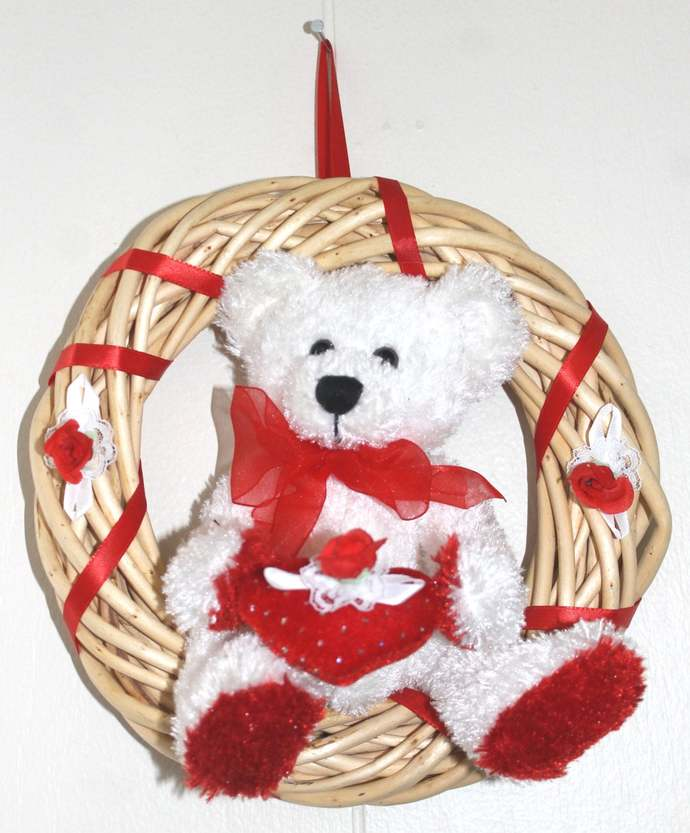 Teddy Bear with Heart 9 inch willow Wreath Baby Love Wedding Valentines Mother's
