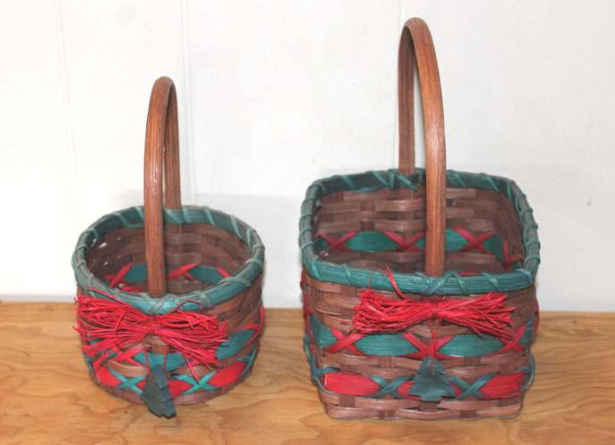 Reed Christmas Basket Pair with Wooden Christmas Trees Centerpiece Bouquet