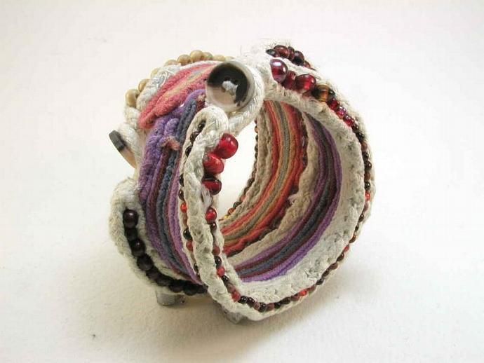 wide sculptural beaded cuff bracelet ancient relic modern replica fantasy design
