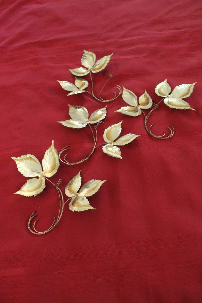 3-D Sculpture Vintage Set of Brass Leaves and a Butterfly Wall Art retro 60s