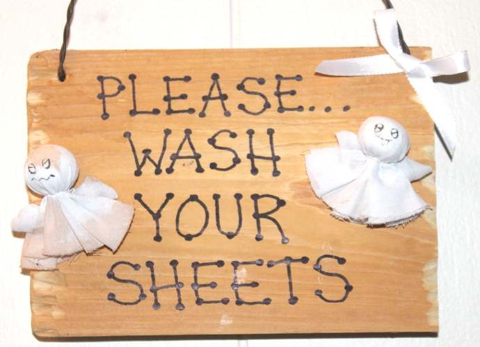 Please Wash Your Sheets wooden sign ghosts spirits Halloween Trick or Treat