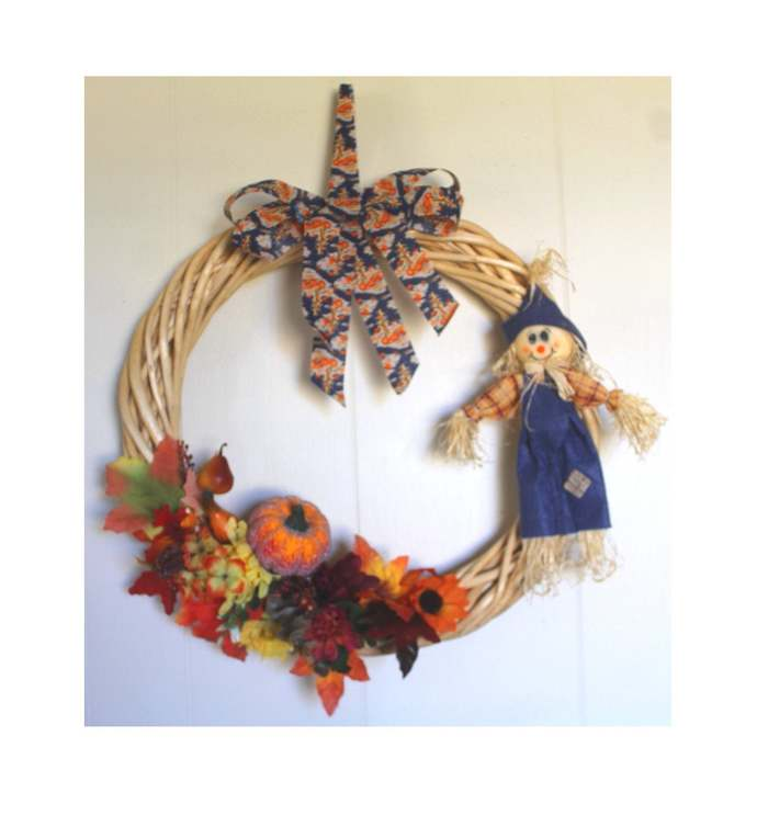 Scarecrow With Fall Foliage and Pumpkin 16 inch diameter Willow wreath Autumn