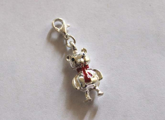 New in package Bear with Red Scarf clip-on steel charm pendant jewelry necklace