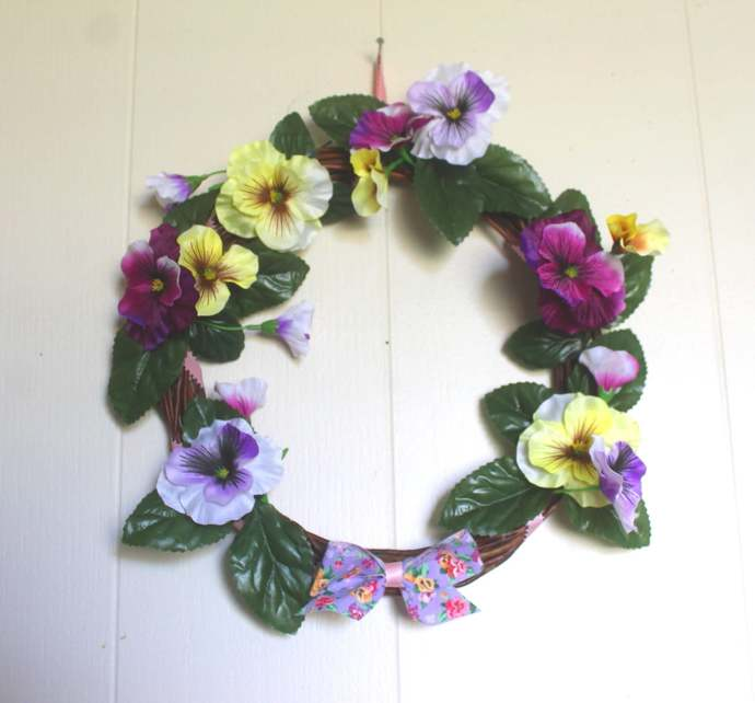 Realistic Pansy 12 inch Willow Wreath Spring May Flowers Mother's Day Wedding