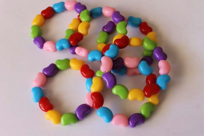 Stretchy Jelly Bean bead bracelet Easter jewelry