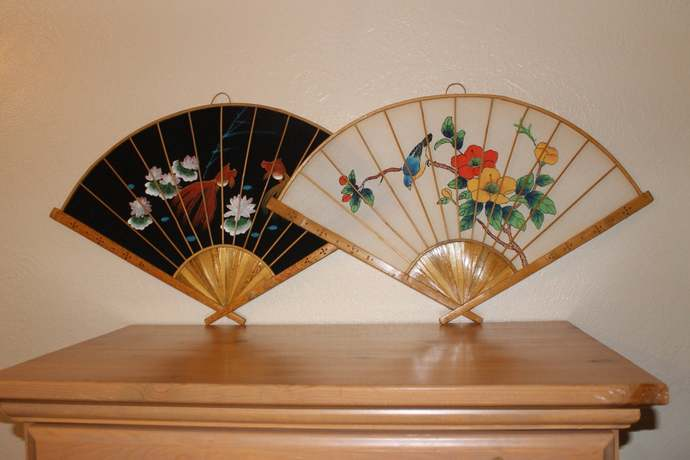 Handpainted Fabric and Bamboo Chinese Decorative Fans 1990s vintage wall hanging