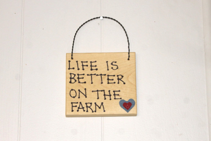 Life is Better on the Farm wooden sign Denim Heart Country Cowboy Cowgirl Rodeo