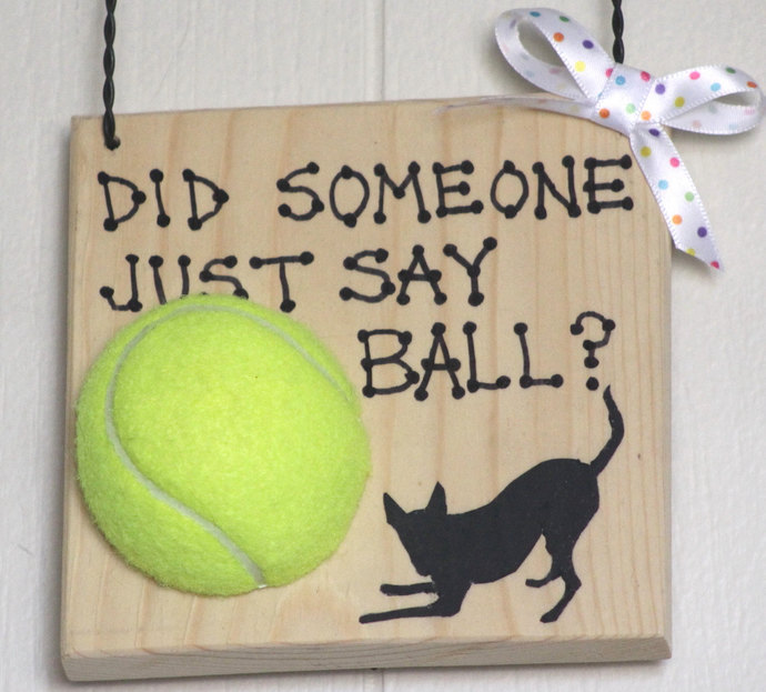 Did Someone Just Say Ball? wooden sign plaque woof bow wow dog tongue ball bark