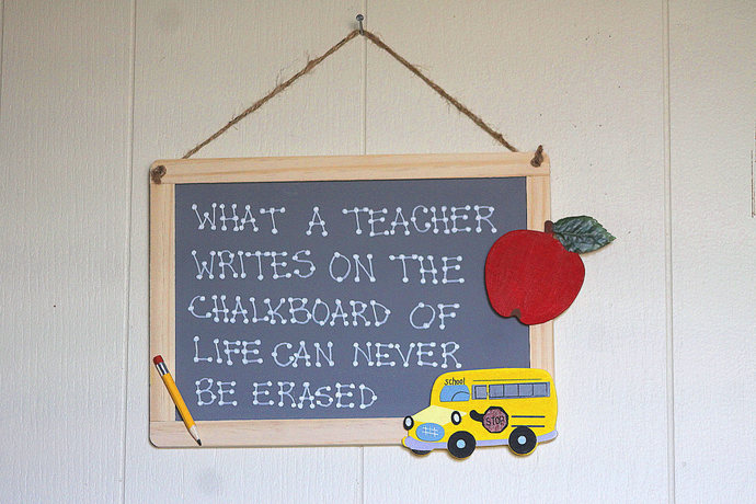 What a Teacher Writes on The Chalkboard of Life Can Never be Erased style 1 sign