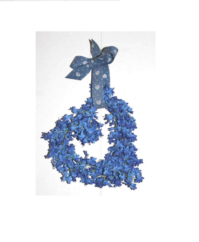 Heart Wreath with Blue Flowers Side Hanging Open Heart Wreath wall hanging Love