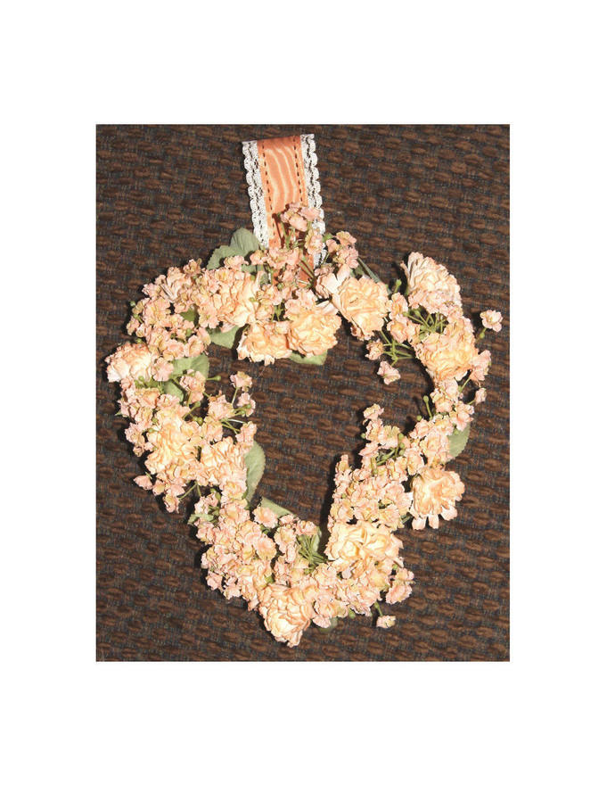 Heart Wreath with Peach Colored Carnations and Baby's Breath wall hanging Love