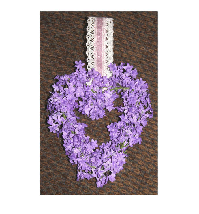 Heart Wreath with Purple Flowers wall hanging Love Wedding Valentine's Day